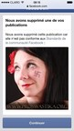 Facebook ban on Stella Desgagne's account. (PRNewsFoto/Raelian Movement)