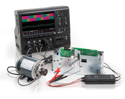 The HDO8000 oscilloscope with Motor Drive Power Analyzer software permits waveform captures from the drive power section, individual power transistors, and embedded control system, and performs coincident three-phase power analysis of the power section waveforms. (PRNewsFoto/Teledyne LeCroy)