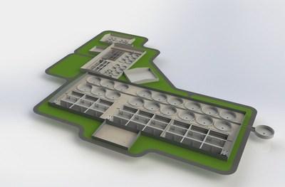 3D Model of Indoor salmon Aquaculture project in NL Canada (PRNewsFoto/Aqua Maof Group)