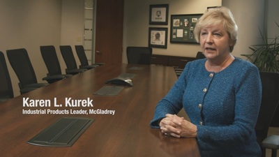 Karen Kurek, McGladrey's national industrial products practice leader, discusses the survey results from the 2014 Manufacturing and Distribution Monitor. Learn more at www.mcgladrey.com. (PRNewsFoto/McGladrey)