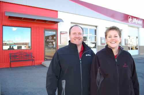 Karn Jilek (right) and John Olstad (left), co-owners of Jiffy Lube franchise JK Lube, Inc., have been ...