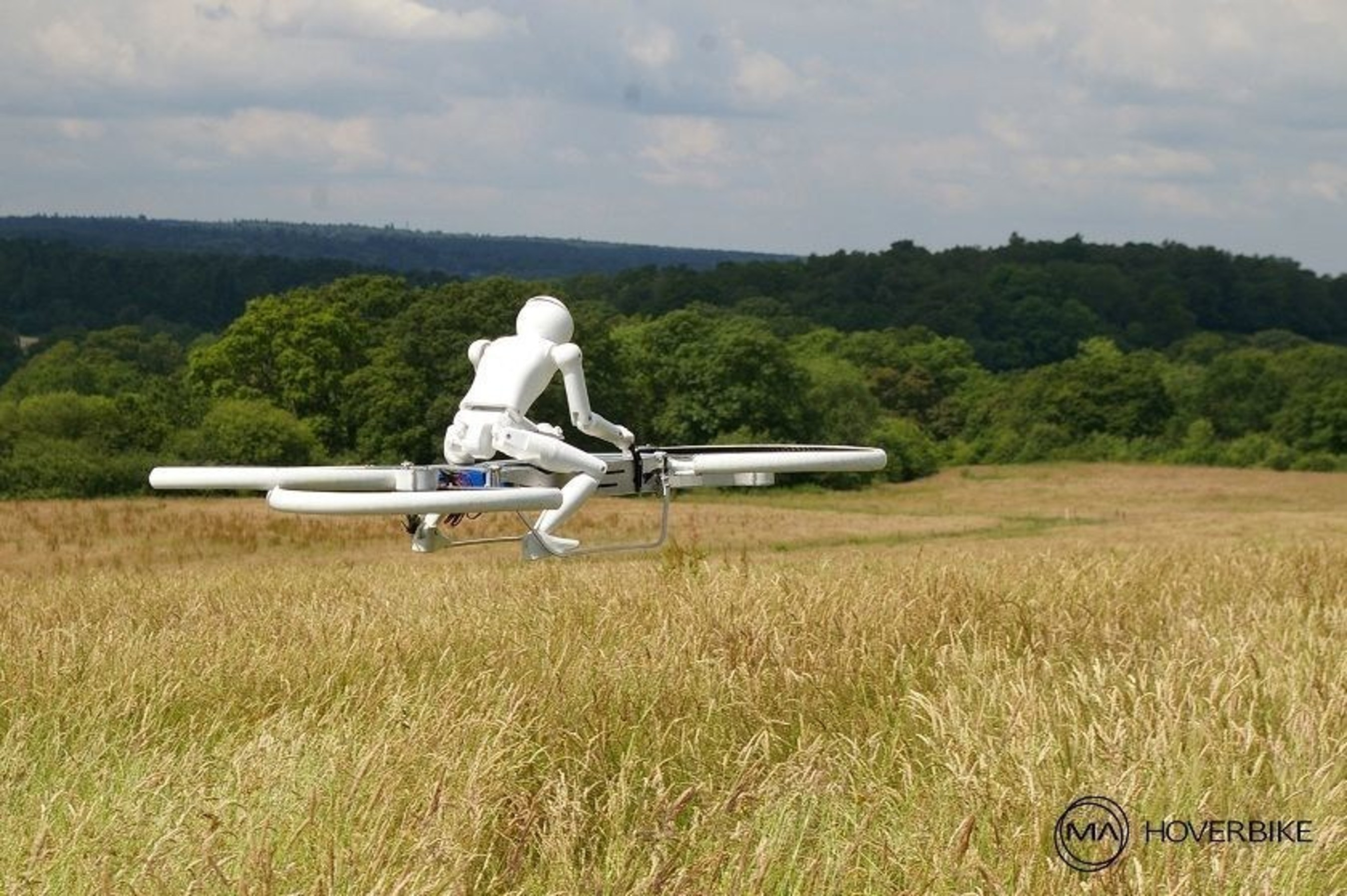 An example of one of the competitions under The world Future Sports Games : Manned Drones Races