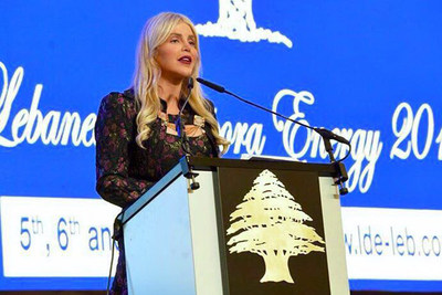 """Prominent Michigan Accident Attorney Joumana Kayrouz keynotes the opening day of the 3rd Annual Lebanese Diaspora Energy Conference in Beirut, Lebanon on May 5, 2016, urging Lebanese Americans to support Lebanon """"with their hearts, their minds, their citizenship and their pocketbooks."""" www.YourRights.com"""