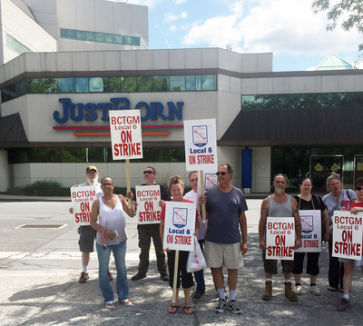 Today 400 workers at Just Born Inc. in Bethlehem, Pa. went on strike. The workers, who make the company's iconic marshmallow Peeps, are members of BCTGM Local 6.