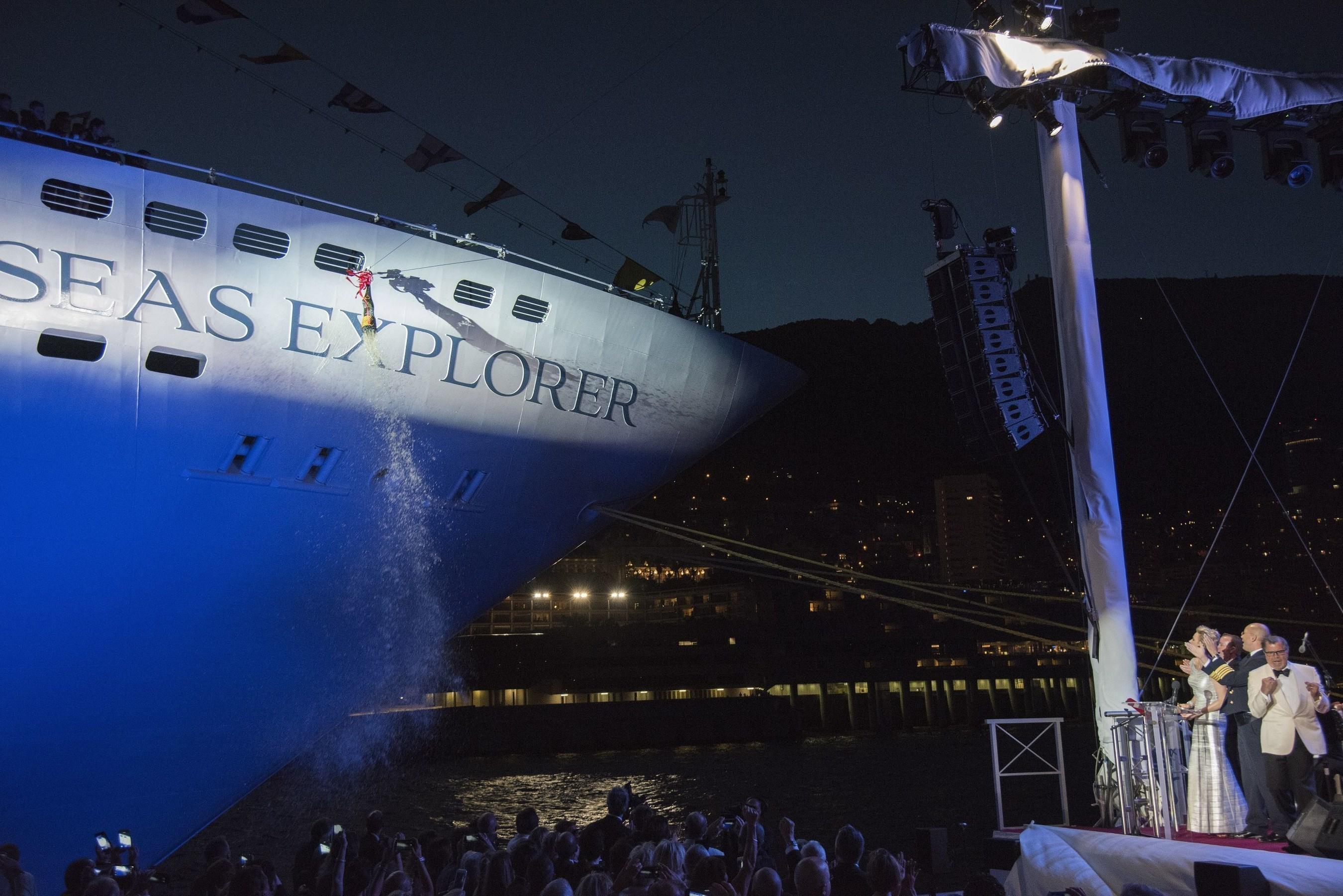 Regent Seven Seas Cruises introduces Seven Seas Explorer to its fleet with this bottle-breaking christening moment. Photo credit: Preston Mack.