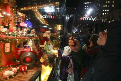 "Macy's Herald Square Unveils its 2014 Christmas Window Spectacular--""Santa's Journey to the Stars."" John Minchillo/AP Images for Macy's Inc."