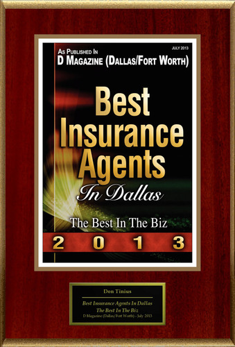 Don Tinius Selected For 'Best Insurance Agents In Dallas'