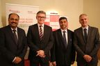 L-R: Arvind Mehra, Global CEO, Mahindra Aerospace; Frank Rainford, Executive Product Leader Aerostructures, GE Aviation Systems; S P Shukla, Chairman, Mahindra Aerospace; Stephen Roebuck, Director, Business Development, Mahindra Aerospace announced an agreement on complex parts and assemblies at Paris Air show 2015.