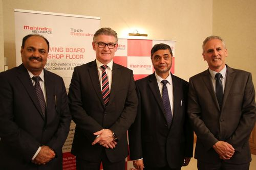 L-R: Arvind Mehra, Global CEO, Mahindra Aerospace; Frank Rainford, Executive Product Leader Aerostructures, GE Aviation Systems; S P Shukla, Chairman, Mahindra Aerospace; Stephen Roebuck, Director, Business Development, Mahindra Aerospace announced an agreement on complex parts and assemblies at Paris Air show 2015. (PRNewsFoto/Mahindra and Mahindra Limited)