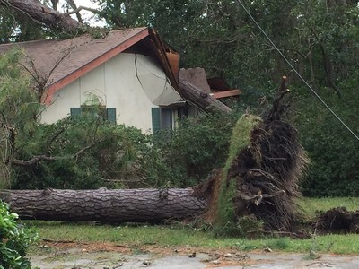 Hurricane Matthew damages home and power lines in coastal Georgia.