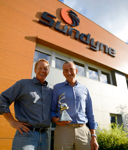 Sundyne President Jeff Wiemelt and Sundyne France General Manager Joel Heux in front of the Sundyne France facility. Under Mr. Heux's leadership, Sundyne France received the inaugural Accudyne Industries CEO award.  (PRNewsFoto/Sundyne)