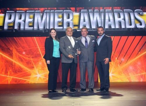 Choice Hotels International Premier Developer Award Winner Meyer Jabara. From left to right: Candice Jabara, Richard Jabara, Steve Joyce, Ted Jabara (PRNewsFoto/Choice Hotels International, Inc)