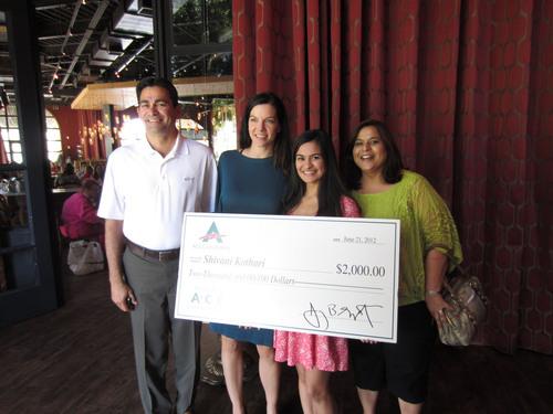 ACE's scholarship winner, Shivani Kothari, with State Representative Michelle Ugenti and Shivani's parents.  (PRNewsFoto/ACE Cash Express, Inc.)