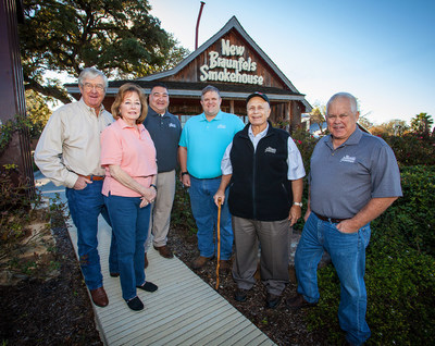 New Braunfels Smokehouse Leadership and year hired. Dudley Snyder ('76), Sue Snyder ('80), Emilio Rodriguez ('93), Brandon Dietert ('98), Rocky Tays ('65), Mike Dietert ('66)