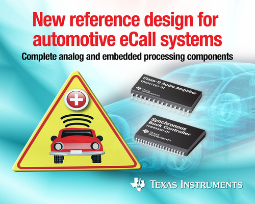 New reference design for eCall systems from TI.  (PRNewsFoto/Texas Instruments Incorporated)