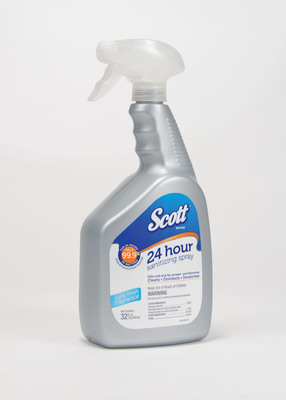 Kimberly-Clark Professional launches Scott 24 Hour Sanitizing Spray - the only sanitizing spray that kills 99.9 percent of bacteria for 24 hours.  Scott 24 Hour Sanitizing Spray also cleans, disinfects and deodorizes, while eliminating 99.9 percent of cold and flu viruses and norovirus.  (PRNewsFoto/Kimberly-Clark Corp.)