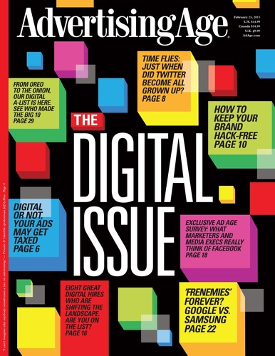 Advertising Age Names 2013 Digital A-List In Seventh Annual Digital Issue. Also: Gauging Sentiment About Facebook, Twitter Finally Comes of Age; Simmering Tensions Between Google and Samsung; The Best Digital Hires for 2013; The 10 Start-Ups to Watch in 2013; and Will China's WeChat Take America?.  (PRNewsFoto/Advertising Age)