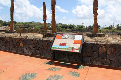 The first sign is dedicated to Henry Kekahuna, the Hawaiian surveyor who mapped the Kaneiolouma complex in 1959.