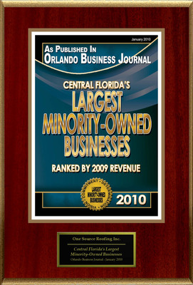 "One Source Roofing Inc. Selected For ""Central Florida's Largest Minority-Owned Businesses"".  (PRNewsFoto/One Source Roofing Inc.)"