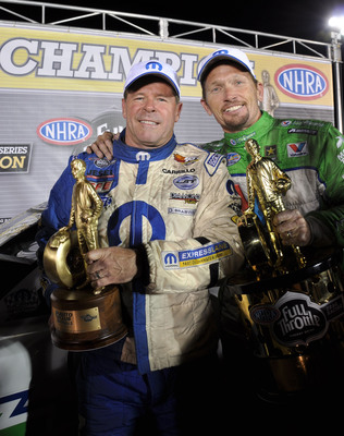 The Mopar brand's 75th anniversary celebration is highlighted by two 2012 NHRA World Championships won by Pro Stock driver Allen Johnson in his Dodge Avenger, and Funny Car driver Jack Beckman in his Dodge Charger R/T.  Mopar earned a combined  total of 10 HEMI-powered wins in each class this season, including Johnson's title win at the NHRA season ending race in Pomona, California.  (PRNewsFoto/Chrysler Group LLC)