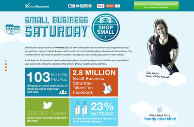 VerticalResponse launched a new microsite loaded with free tips and ideas to help small businesses get the most out of Small Business Saturday (Nov. 24, 2012). Visit the site at: http://www.verticalresponse.com/smallbusinesssaturday.  (PRNewsFoto/VerticalResponse)