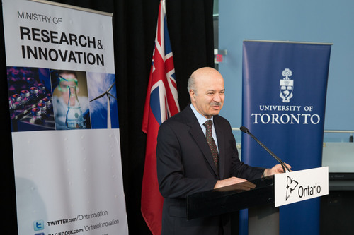 Reza Moridi, Ontario Minister of Research and Innovation, announces $190 million in research funding from the ...