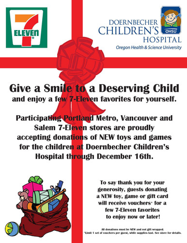 Portland-area 7-Eleven stores conduct toy drive to benefit Doernbecher Children's Hospital patients.  ...