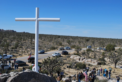 Mojave Veterans Memorial Cross Restored on Veterans Day.  (PRNewsFoto/Liberty Institute)