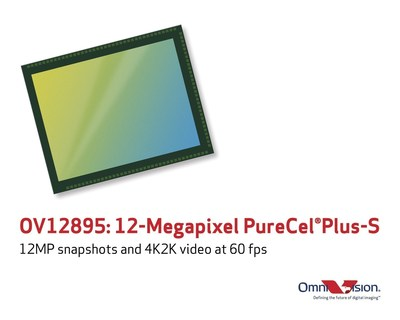 OV12895:12-megapixel PureCel(R)Plus-S captures 4K2K video at 60 frames per second.