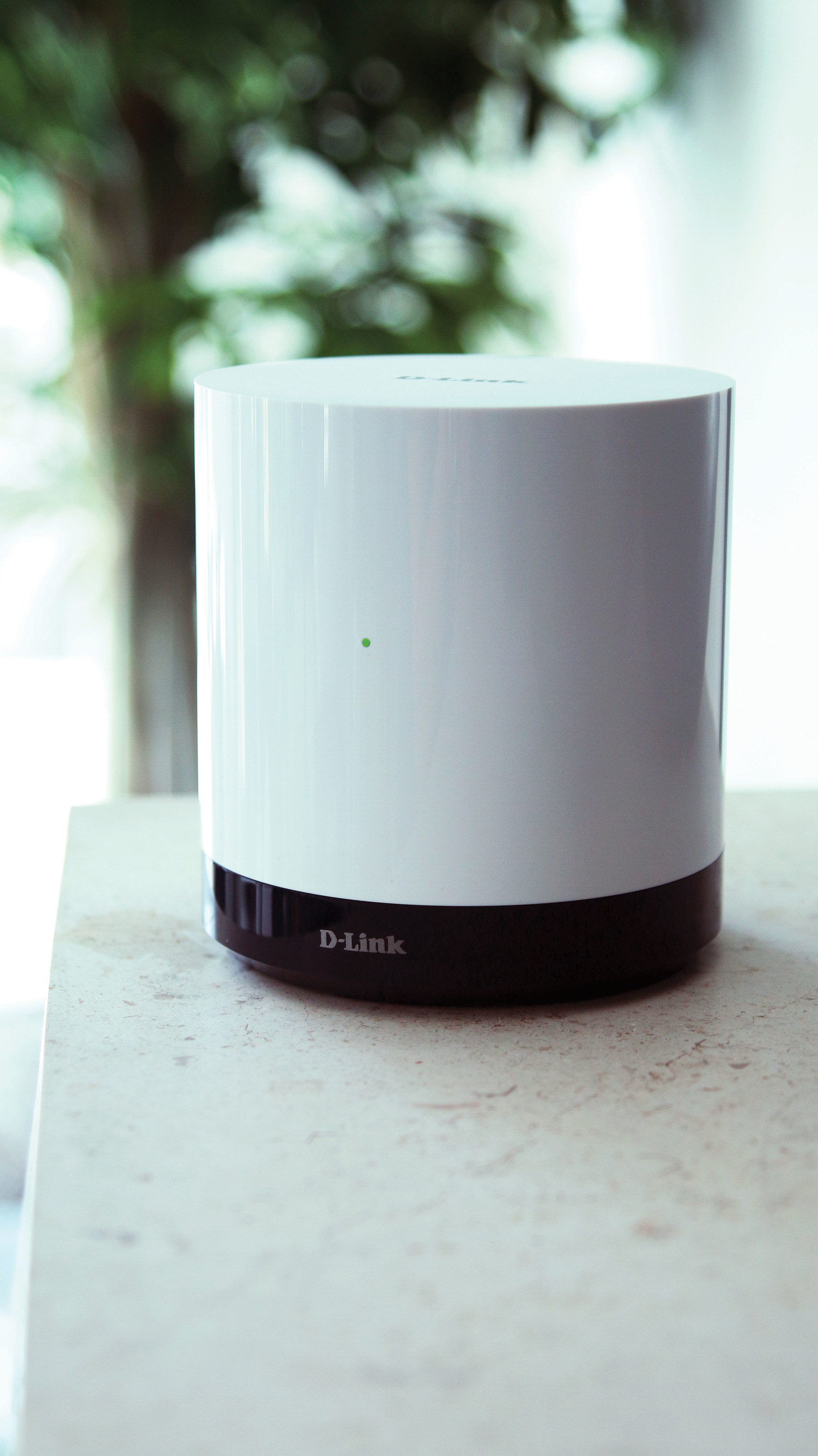 The Connected Home Hub (DCH-G020) plugs into an existing home network router to act as a centralized control for D-Link Connected Home devices