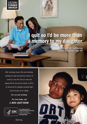Rico started smoking at age 14 and continued into adulthood. At age 45, Rico's doctor told him he had cancer. Rico realized that if he wanted to watch his then-teenaged children grow up, he had to quit smoking. He was treated for his cancer and has been a survivor since 2011. In this print ad, Rico reflects on why he quit smoking.