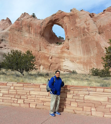 Christopher Larsen, pictured at Window Rock, AZ, is back home in the Navajo Nation. He gets around with the support from the SynCardia temporary Total Artificial Heart powered by the Freedom portable driver. Larsen has arranged to fly to Tucson when a matching donor heart becomes available.