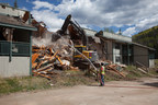Timber Ridge Apartments are torn down on Tuesday in Vail to make way for Lion's Ridge Apartment Homes, one and two bedroom long term employee housing. (PRNewsFoto/Gorman & Company, Inc.)