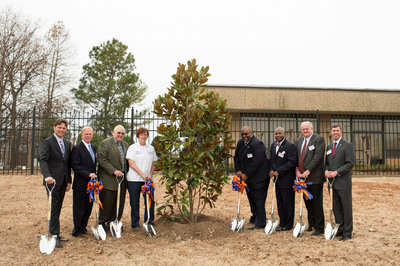 "To commemorate the 35th anniversary of the Mars Food Plant in Greenville, Mississippi, elected officials and associates planted a Southern Magnolia tree at the factory in the ""Magnolia State.""  From left: Michael Robbers, Mars Food Vice President of Supply; Greenville Mayor John H. Cox III; Paul Watson, Jr., President, Washington County Board of Supervisors; Sherry Day, Plant Director, Mars Food; State Representative John Hines; State Senator Derrick Simmons; Frank Mars, Mars, Incorporated Board member; and Brent Christensen, Executive Director, Mississippi Development Authority.  (PRNewsFoto/Mars Food North America)"