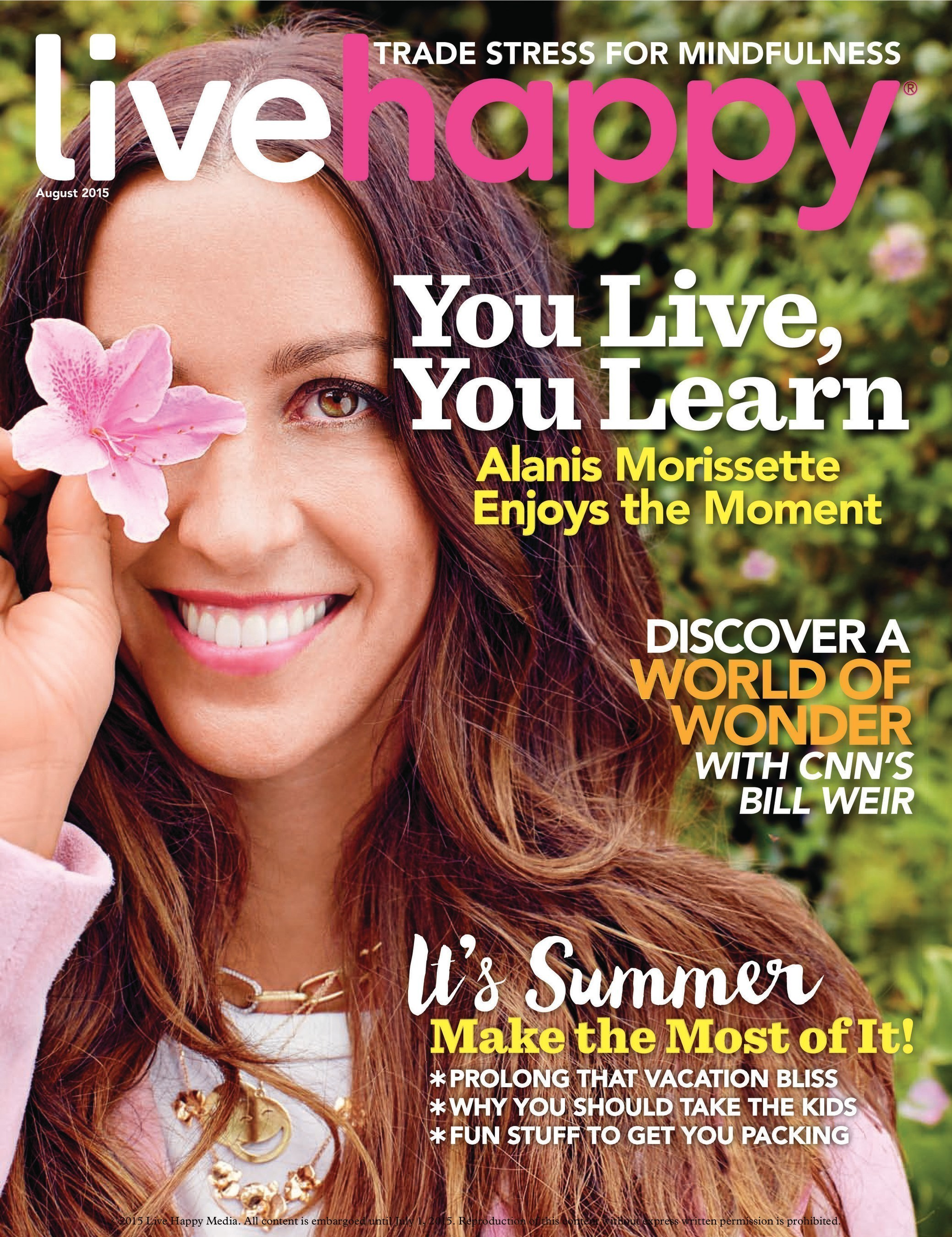 Live Happy Magazine Features Alanis Morissette on Cover of July/August Issue