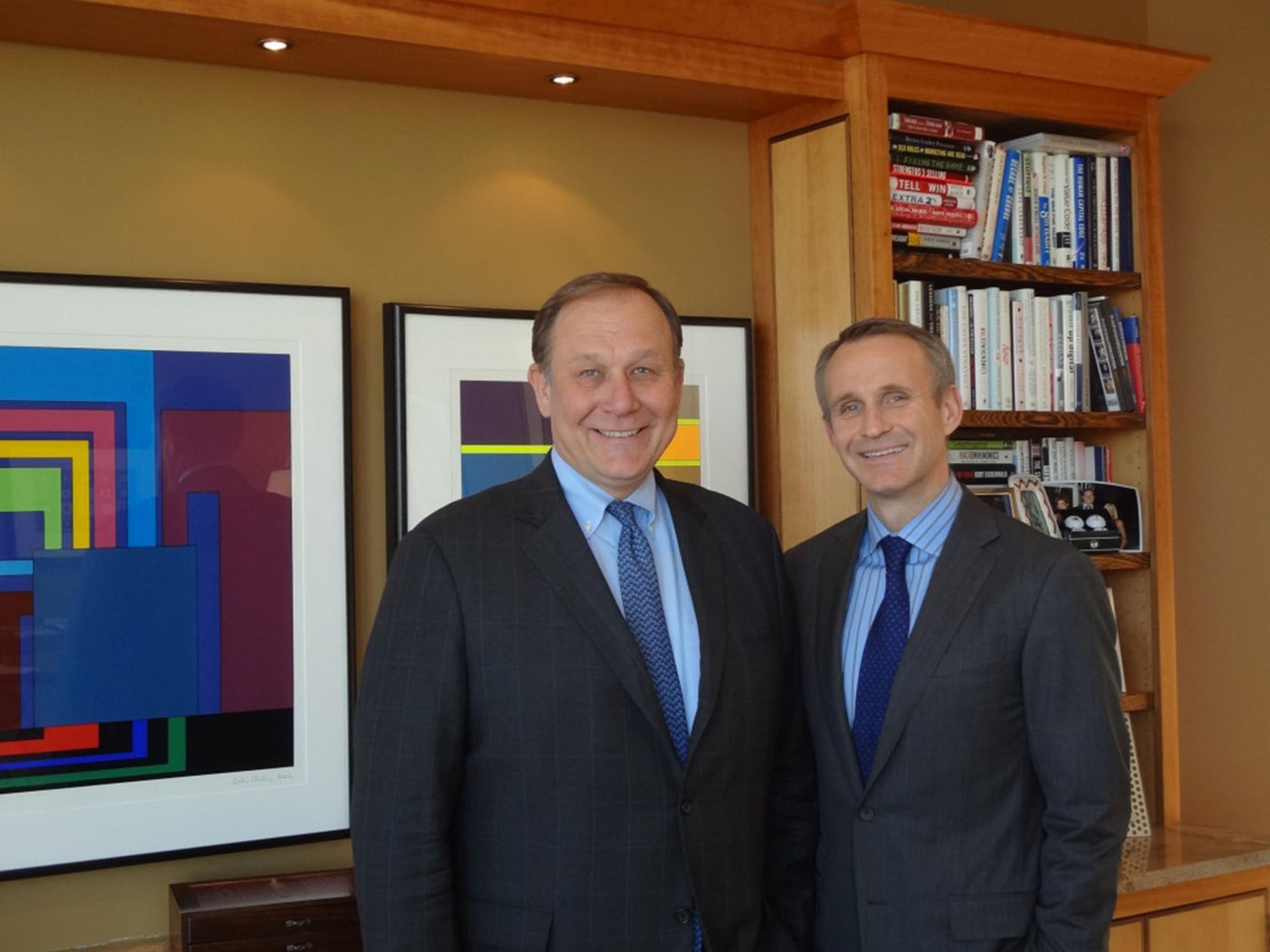 Jonas Prising (right) elected ManpowerGroup CEO; Jeffrey Joerres (left) named Executive Chairman, both effective May 1, 2014.  (PRNewsFoto/ManpowerGroup)