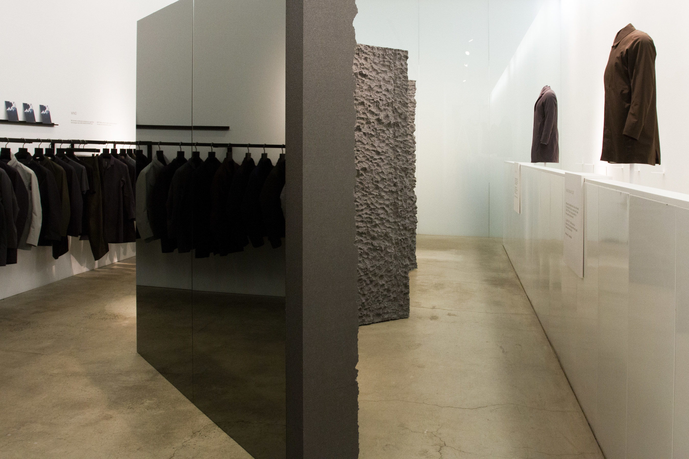Detail of Snarkitecture-designed installation at the Arc'teryx Veilance concept store
