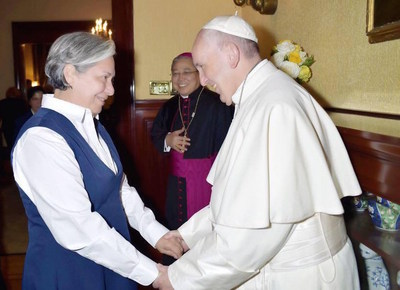 Sister Norma Pimentel recognized by Pope Francis.