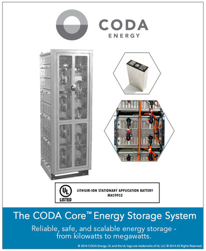 CODA Energy's UL Listed Energy Storage System. (PRNewsFoto/CODA Energy)