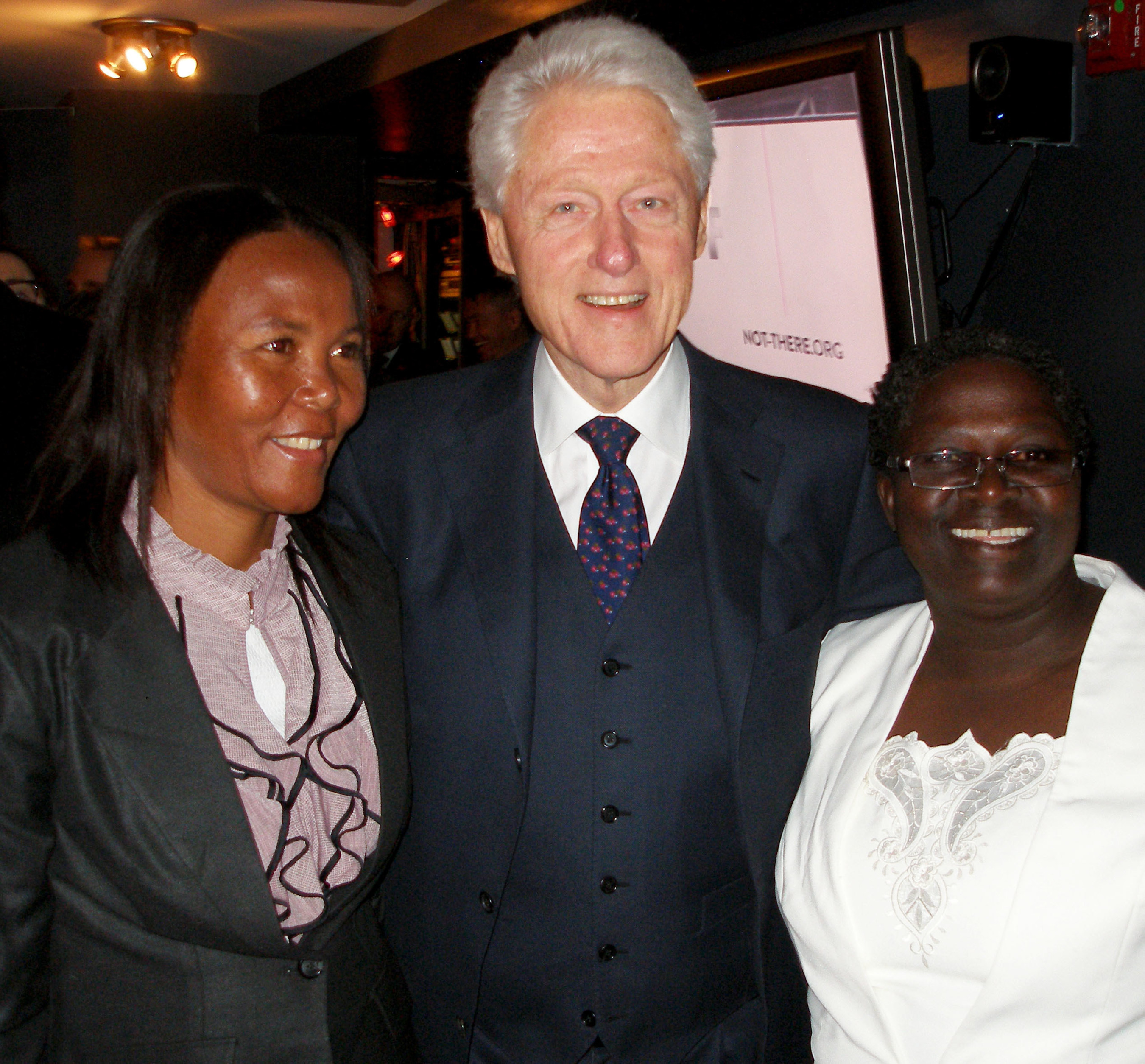 Midwives For Haiti graduates, Genette Thelusmond and Magdala Jean, are thanked for their work to reduce maternal and infant mortality in Haiti by Former President Bill Clinton in New York City on March 9, 2015. Midwives For Haiti is a Richmond, Virginia non-profit organization working in Haiti to educate skilled birth attendants and increase access to skilled maternity care through several high impact health projects.