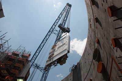 """The CA02 module, weighing 52-tons, is lowered into place at the Vogtle Unit 3 nuclear island. This placement completes the """"Big 6"""" modules for Unit 3 which also include the previously placed CA01, CA04, CA05 and CA20."""