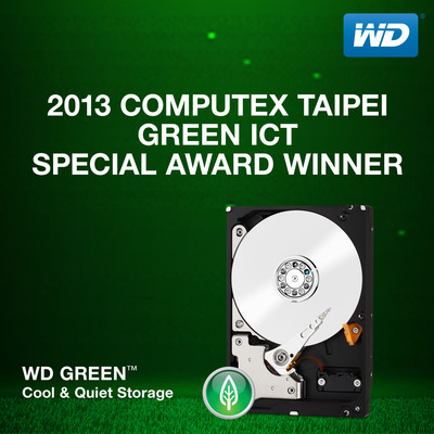 WD Green(TM) Hard Drives Win Best Choice Award At COMPUTEX TAIPEI 2013.  (PRNewsFoto/WD)