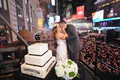 Alfredo and Monica Hernandez, the First Couple of 2016, were married in Times Square on New Year's Eve by George Zimmer, CEO and Founder of Generation Tux, the Official Tuxedo of Times Square