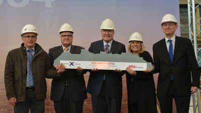 Celebrity Cruises continues to be a trailblazer in modern luxury travel as President and CEO Lisa Lutoff-Perlo cuts the first piece of steel for Celebrity Edge, the first ship of its class. (Photographed from left to right: Jean-Yves Jaouen, Operations Senior Vice President, STX France; Harri Kulovaara, Executive Vice President Newbuild and Innovation, Royal Caribbean Cruises, Ltd.; Richard D. Fain, Chairman and CEO, Royal Caribbean Cruises, Ltd.; Lisa Lutoff-Perlo, President and CEO, Celebrity Cruises; Laurent Castaing, General Manager, STX France)
