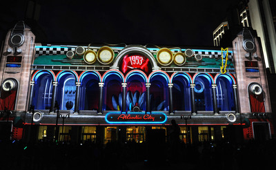 "Free 3D sound and light show ""Boardwalk Beat"" debuts in Atlantic City, NJ. A magical jukebox time machine takes viewers on a journey through musical history every half hour nightly.  (PRNewsFoto/Atlantic City Alliance)"