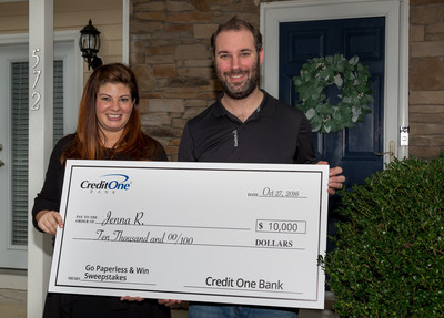 On October 27, 2016 Credit One Bank card member, Jenna from North Carolina was awarded the grand prize of $10,000 for choosing paperless statements and documents.