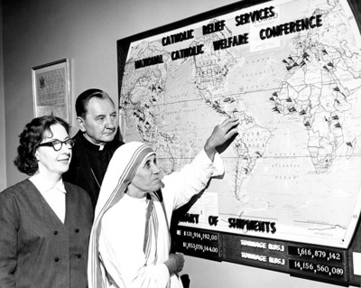 Mother Teresa during her visit to Catholic Relief Services in May 1996, Baltimore, MD. Photo from CRS Archives.