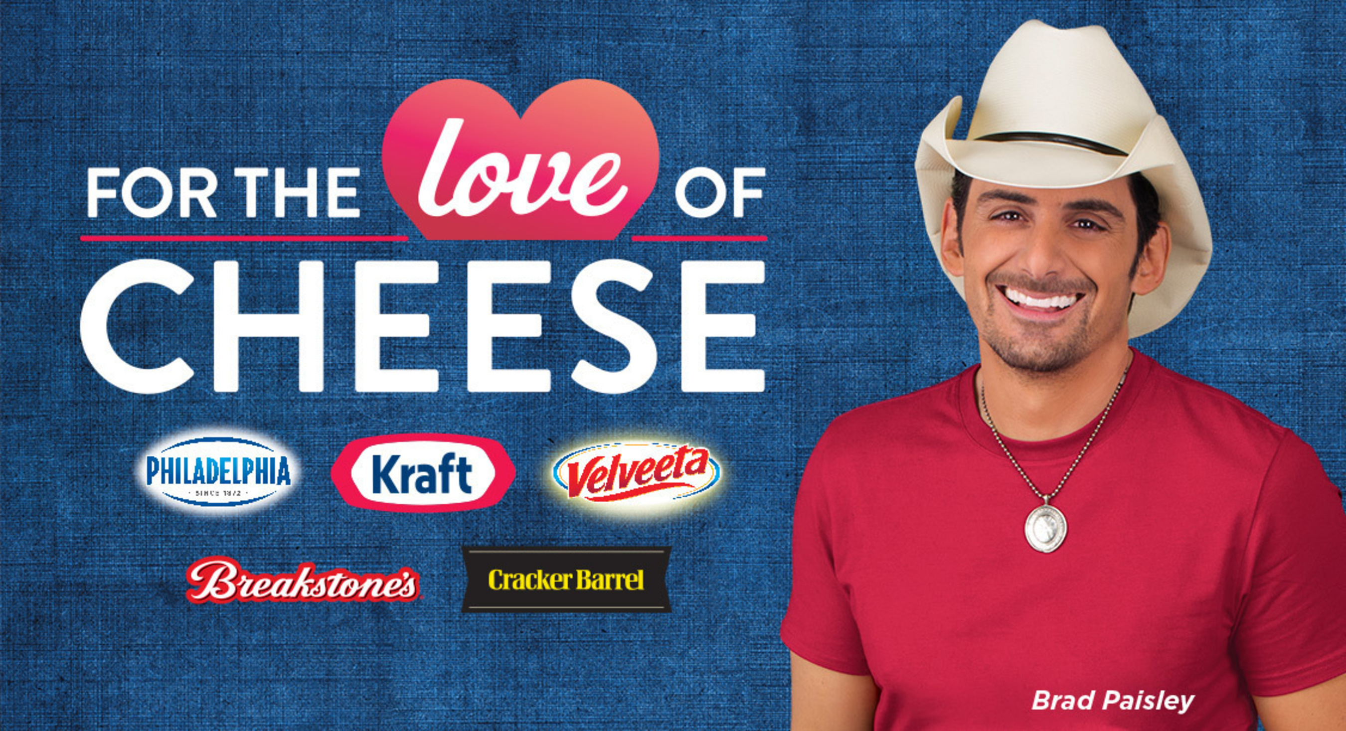 Kraft, America's favorite cheese brand, celebrates 100 years and is joined by country music star Brad Paisley to unleash cheese-lovers' passion for the good stuff. (PRNewsFoto/Kraft Foods)