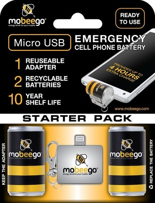 Mobeego Emergency Battery Starter Kit. Adapter is reusable. Batteries refills are only needed thereafter. 10 year shelf life. Up to 4 hours of additional charge. Great for natural emergencies, sporting events, tourists, travel, restaurants, on-the-go people.