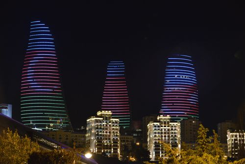 Baku's Iconic Flame Towers will provide a stunning backdrop to the Inaugural European Games in 2015 (PRNewsFoto/Baku 2015 European Games)